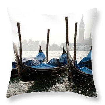 Gondole In Bacino 2078 Throw Pillow