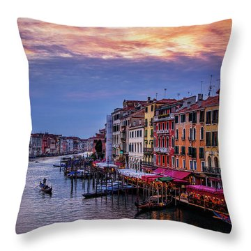 Throw Pillow featuring the photograph Gondola On The Grand Canal by Andrew Soundarajan