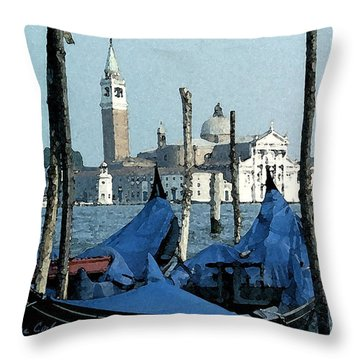 Throw Pillow featuring the digital art Gondolas Across San Giorgio by Donna Corless