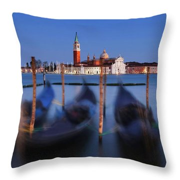 Gondolas And San Giorgio Maggiore At Night - Venice Throw Pillow