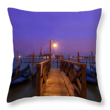 Throw Pillow featuring the photograph Gondolas At Dawn by Andrew Soundarajan
