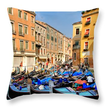 Gondolas In The Square Throw Pillow