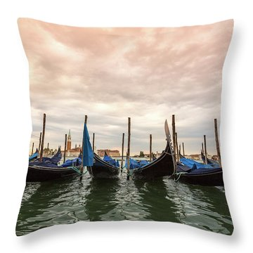 Throw Pillow featuring the photograph Gondolas In Venice by Melanie Alexandra Price