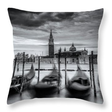 Throw Pillow featuring the photograph Gondolas Of Venice by Andrew Soundarajan