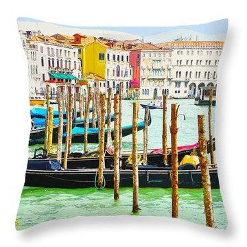 Gondolas On The Grand Canal Venice Italy Throw Pillow