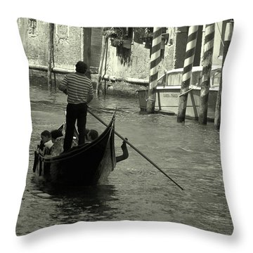 Gondolier In Venice   Throw Pillow