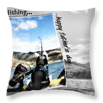 Gone Fishing Father's Day Card Throw Pillow
