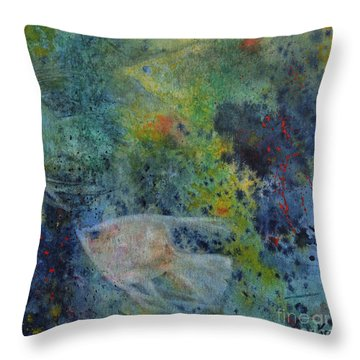 Throw Pillow featuring the painting Gone Fishing by Karen Fleschler