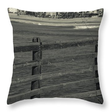 Gone Fishing In Black And White Throw Pillow