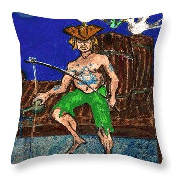 Gone Fishing Throw Pillow by William Depaula