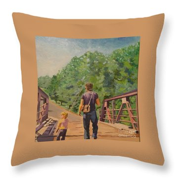 Gone Fishing With Dad Throw Pillow