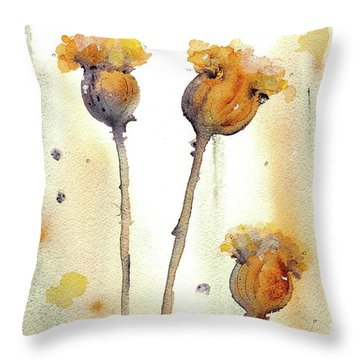 Throw Pillow featuring the painting Gone To Seed by Dawn Derman