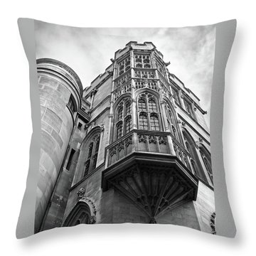 Throw Pillow featuring the photograph Gonville And Caius College Library Cambridge In Black And White by Gill Billington