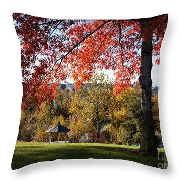 Gonzaga With Autumn Tree Canopy Throw Pillow