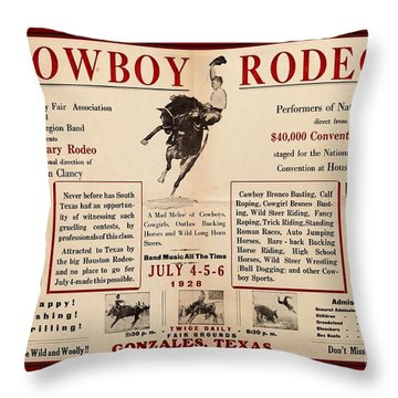 Throw Pillow featuring the drawing Gonzales Texas County Fair Cowboy Rodeo Bronco Busting 1928 Texas Cowboy Culture by Peter Gumaer Ogden