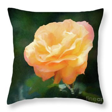 Good As Gold Painted Rose Throw Pillow
