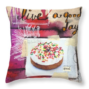 Good Day Donut- Art By Linda Woods Throw Pillow