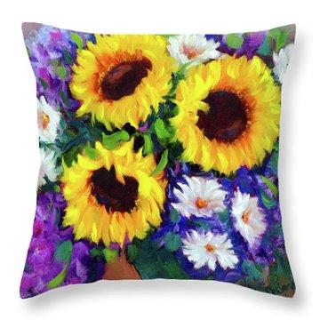 Good Day Sunflowers Throw Pillow