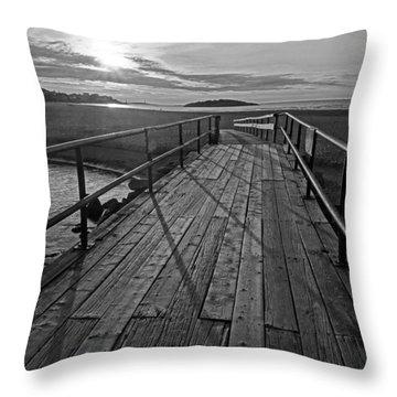 Good Harbor Beach Footbridge Shadows Black And White Throw Pillow