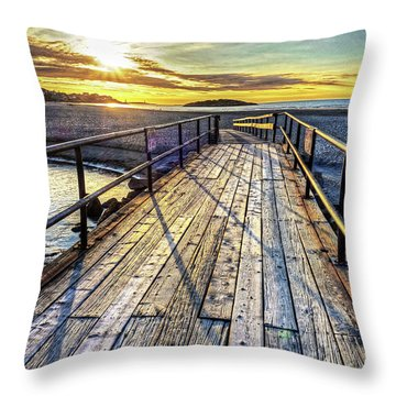Good Harbor Beach Footbridge Shadows Throw Pillow