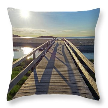 Good Harbor Beach Footbridge Sunny Shadow Throw Pillow