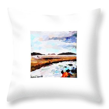 Good Harbor Beach, Salt Island, And Thatcher's Island Throw Pillow