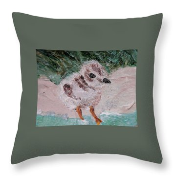 Good Harbor Piping Plover Chick #1 Throw Pillow