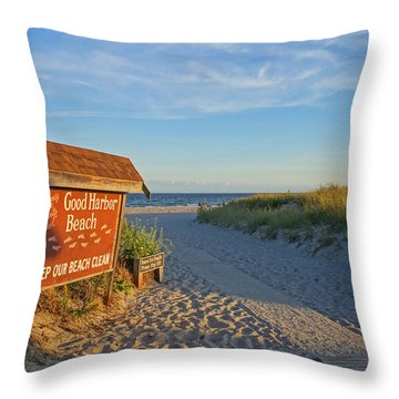 Good Harbor Sign At Sunset Throw Pillow