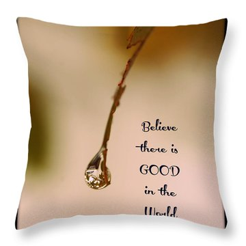 Throw Pillow featuring the mixed media Good In The World by Trish Tritz