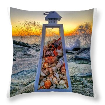 Shell Island Lighthouse Throw Pillow