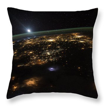 Good Morning From The International Space Station Throw Pillow