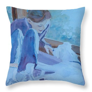 Good Morning Puppy Throw Pillow by Jenny Armitage