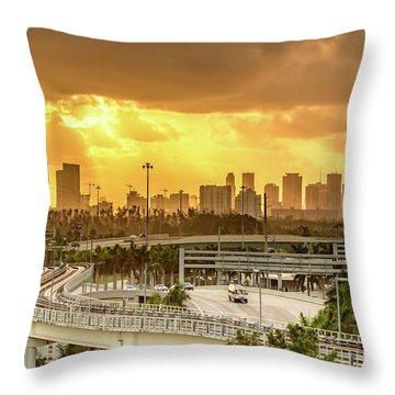 Miami City Sunrise Throw Pillow