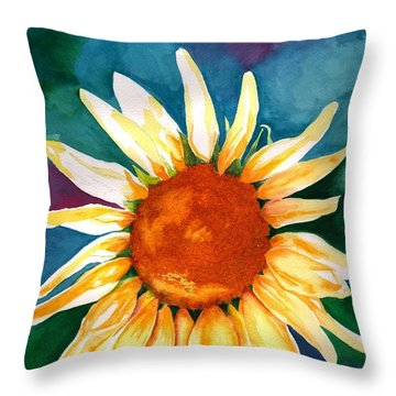 Throw Pillow featuring the painting Good Morning Sunflower by Sharon Mick