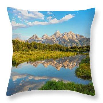 Good Morning Tetons Throw Pillow