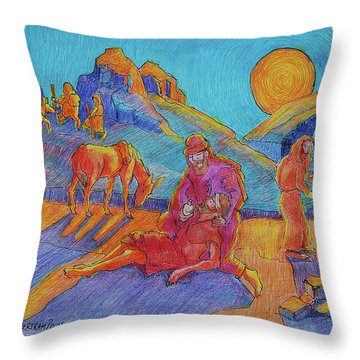 Good Samaritan Parable Painting Bertram Poole Throw Pillow