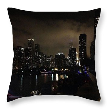Chicago Skyline By Night Throw Pillow by Chantal Mantovani