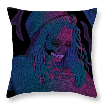 Good Vibes Skelegirl Throw Pillow