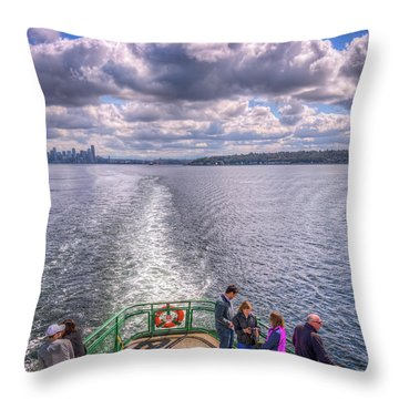 Goodbye Seattle Throw Pillow by Spencer McDonald