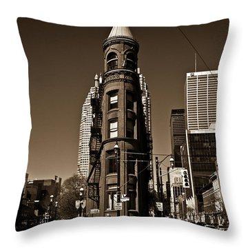 Throw Pillow featuring the photograph Gooderham Flatiron Building Toronto Canada Sepia Version by Brian Carson