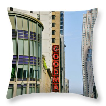 Goodman Memorial Theatre Chicago Throw Pillow by Christine Till