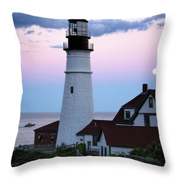 Throw Pillow featuring the photograph Goodnight Moon, Goodnight Lighthouse  -98588 by John Bald