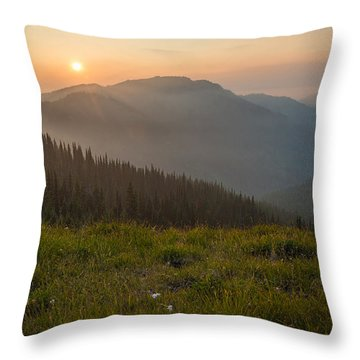 Goodnight Mountains Throw Pillow
