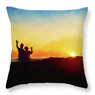 Goodnight Mr. Sun  Throw Pillow