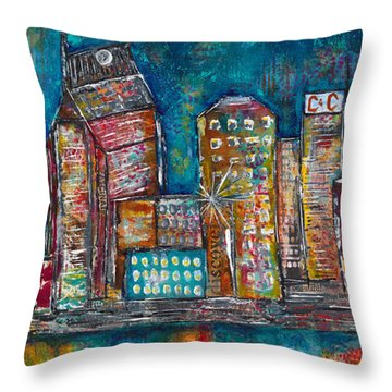 Goodnight Nashville Throw Pillow by Kirsten Reed