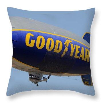 Goodyear Blimp Spirit Of Innovation Goodyear Arizona September 13 2015 Throw Pillow
