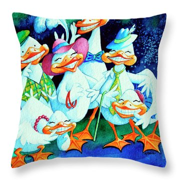 Goofy Gaggle Of Grinning Geese Throw Pillow by Hanne Lore Koehler