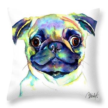 Google Eyed Pug Throw Pillow