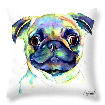 Throw Pillow featuring the painting Google Eyed Pug by Christy  Freeman