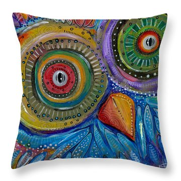 Googly-eyed Owl Throw Pillow by Tanielle Childers